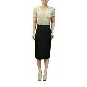 Prada Black Virgin Wool Pencil Straight Skirt 8